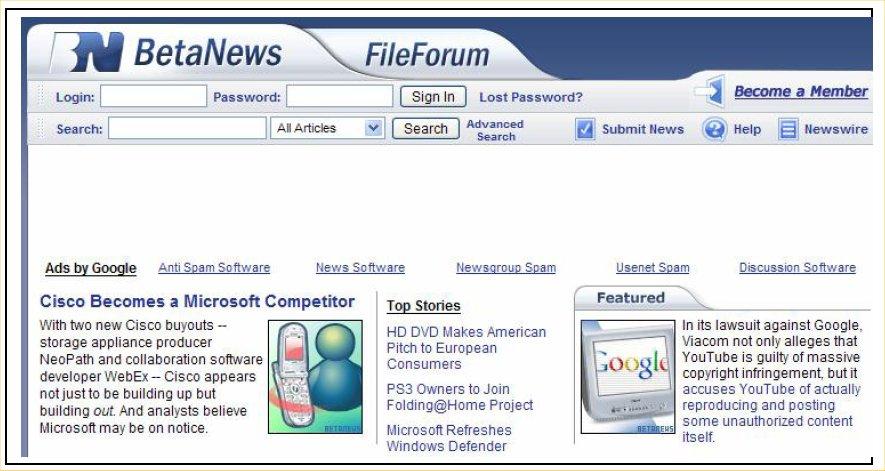Горизонтальный блок ссылок вверху страницы сайта